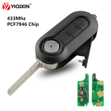 YIQIXIN 3 Button Remote Car Key 433MHz PCF7946 Chip For Fiat 500 Grande Punto Bravo 2010-2017 Control Auto Uncut Blade