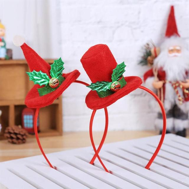 Adult Kids Christmas Headband Cap Design Bell Xmas Headwear Party