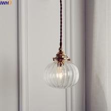 IWHD lámpara colgante con bola de cristal nórdica accesorios comedor Sala antigua de cobre colgante lámpara colgante luces iluminación del hogar