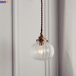 Image 1 - IWHD Nordic Glass Ball Pendant Light Fixtures Dinning Living Room Copper Vintage Pendant Lamp Hanging Lights Home Lighting