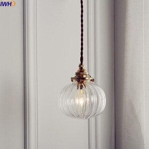 Image 1 - IWHD الشمال كرة زجاجية تركيبات إضاءة قلادة الطعام غرفة المعيشة النحاس خمر قلادة مصباح مصابيح تعليق للزينة المنزل الإضاءة