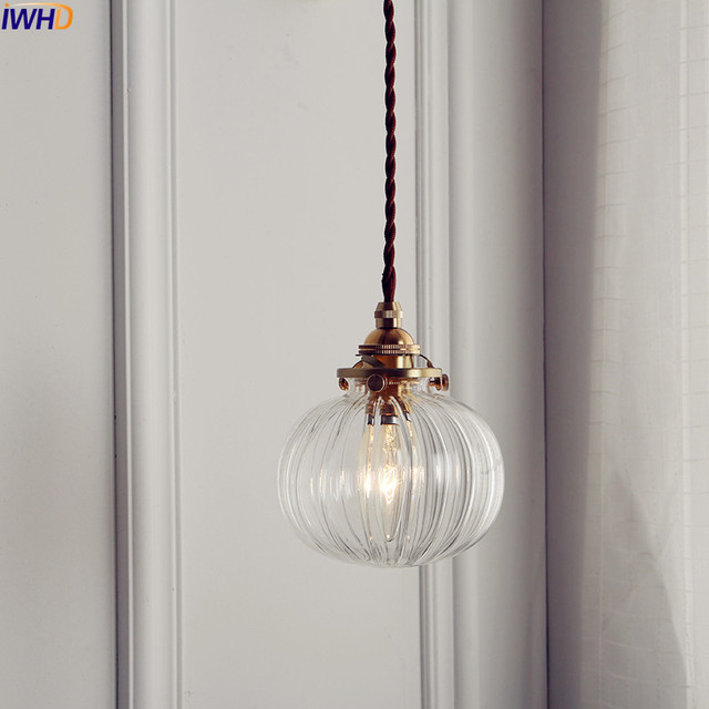 IWHD الشمال كرة زجاجية تركيبات إضاءة قلادة الطعام غرفة المعيشة النحاس خمر قلادة مصباح مصابيح تعليق للزينة المنزل الإضاءة