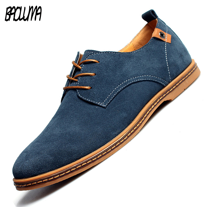 BAOLUMA 2018 Fashion Men Casual Shoes New Spring Men Flats Lace Up Male Suede Oxfords Men Leather Shoes Zapatillas Hombre 38-48 jackshibo 2017 spring new design mens simple black shoes man fashion footwear shoe zapatillas hombre slipon flats male shoes