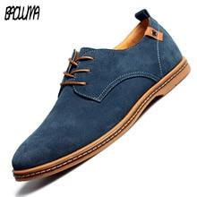 Shoes Men Flats Spring Oxfords Suede Male Fashion New BAOLUMA Lace-Up Zapatillas 38-48