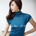 Women autumn Spring turtleneck pullover short-sleeved Slim solid sweater slim casual Knitwear  DY G423 6606#