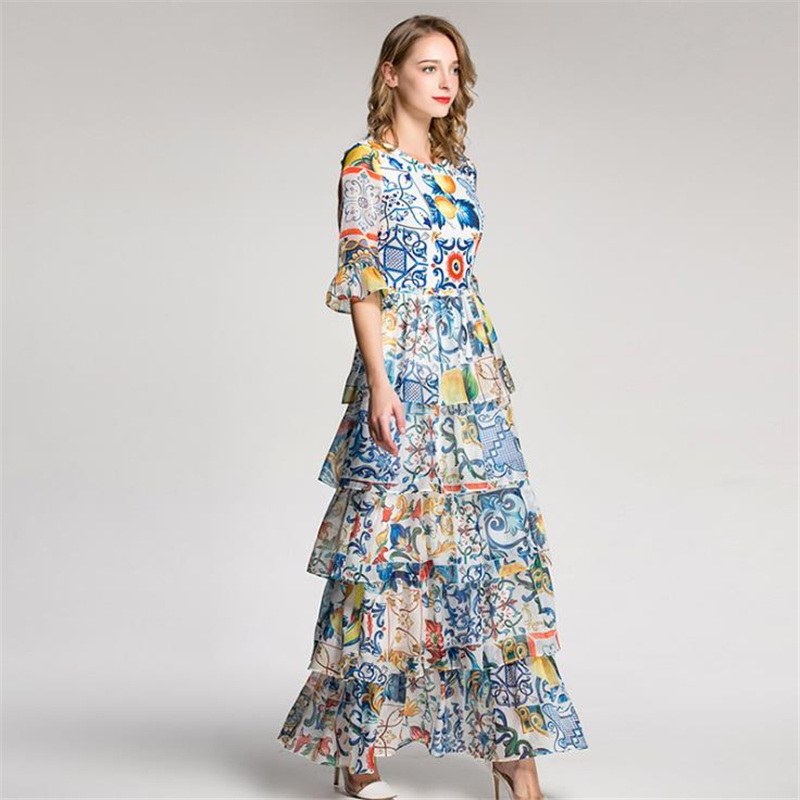 UNIQUEWHO Girls Women Layered Ball Gown Maxi Dress Celebrity Print Dress Flare Sleeve Evening Party Dresses Spring Summer Dress