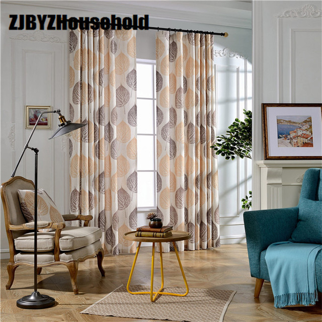 Otoño], algodón, impreso, tela, cortina, semi, Sombras, punto hojas ...