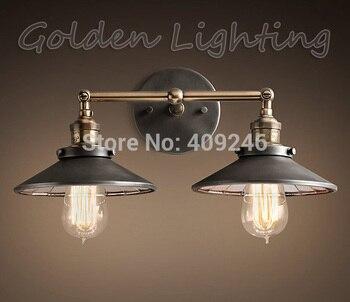 2016 Hot Vintage RH Loft Industrial Wall Lamp Double Heads Pendant Light Edison Bulb 22CM Home Bar Decor Lighting New Arrival