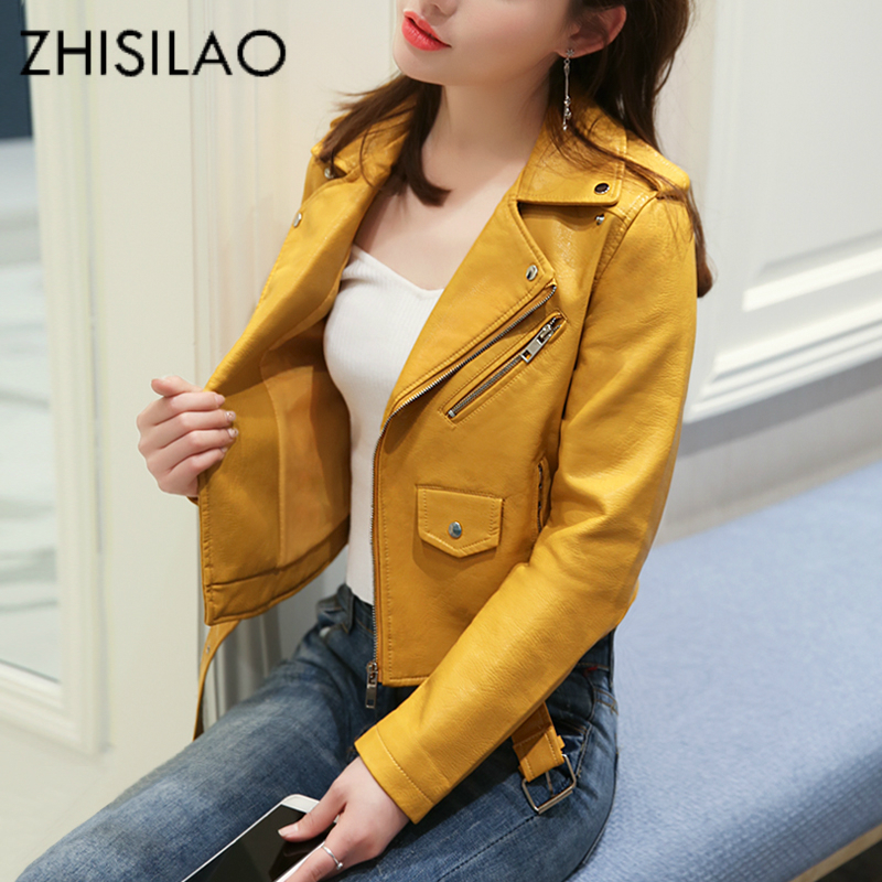 ZHISILAO Short Zipper Faux Leather Jacket Yellow PU Bomber Motorcycle Jacket Plus Size Winter Solid Boler Chaqueta Pink Femme