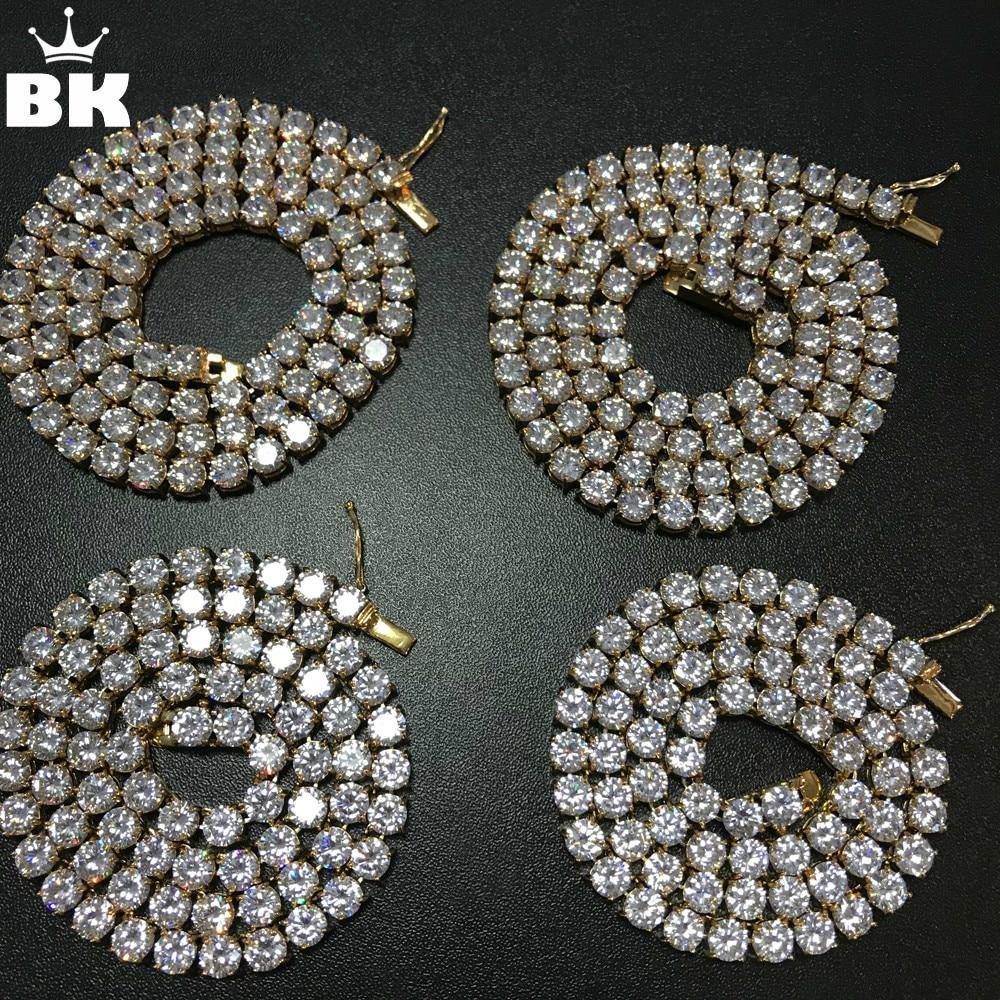 2018 ne se fanent jamais acier inoxydable Tennis collier 4mm/5mm/6mm largeur 18/20/22/24 pouces Micro pavé cubique Zircon Hip Hop hommes bijoux