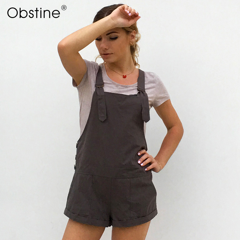 Obstine Adjustable Jumpsuits Overalls Women 2018 Summer Dungarees Casual Loose Yellow Black Pink Cotton Overalls for Women