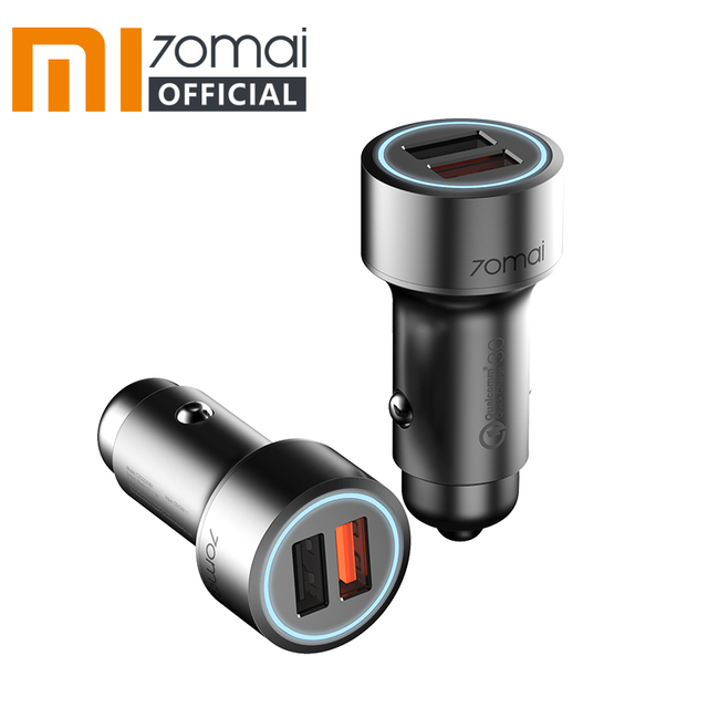 Xiaomi 70mai QC3.0 Quick charge 2USB Port Car Charger 70 mai Metal Case Dual USB for Android iOS for iPhone for Huawei P30