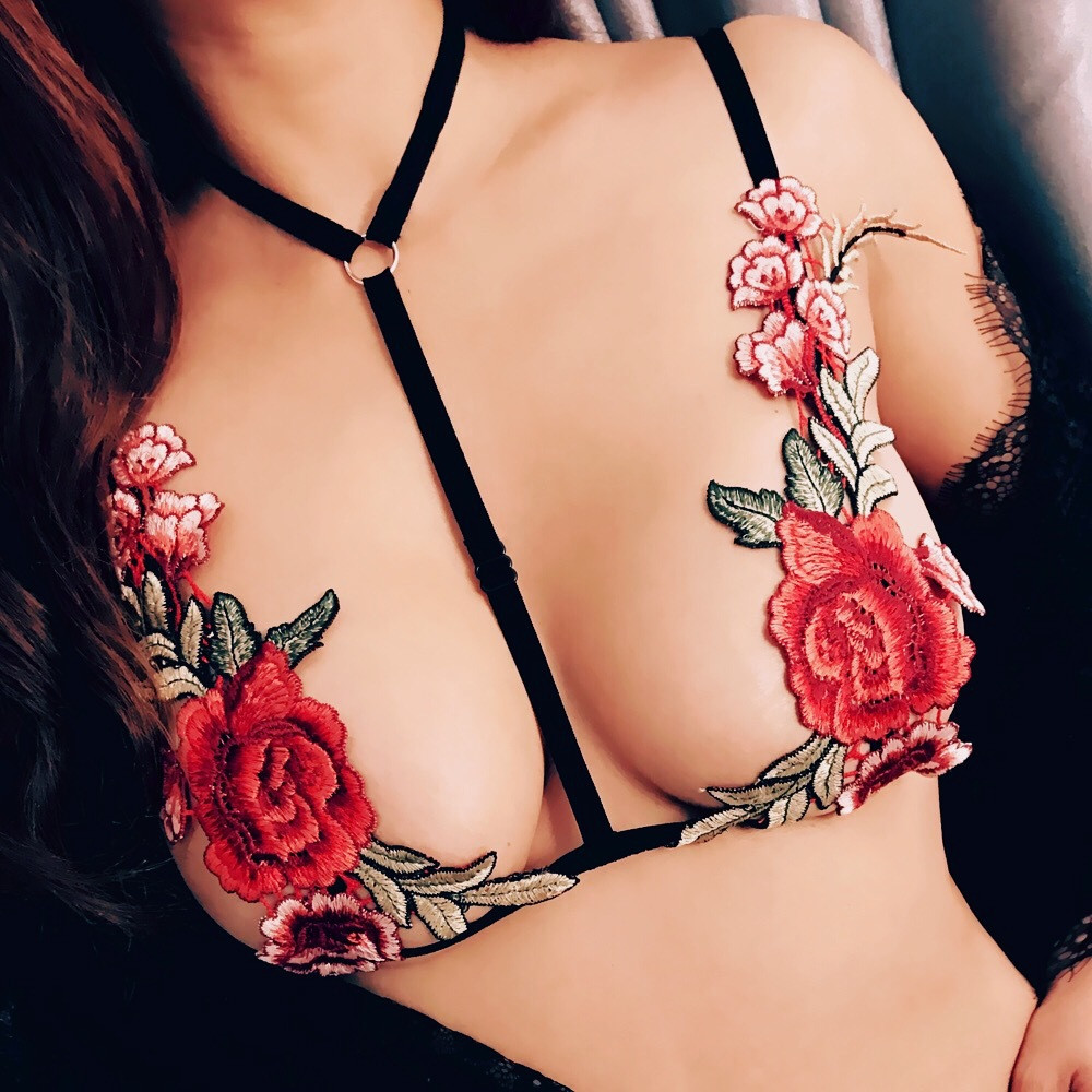PINKSEE Sexy Colorful Flower Embroidery Lingerie Elastic Harness Crossing Bra Bikini Necklace Jewelry Size S/M/L/XL