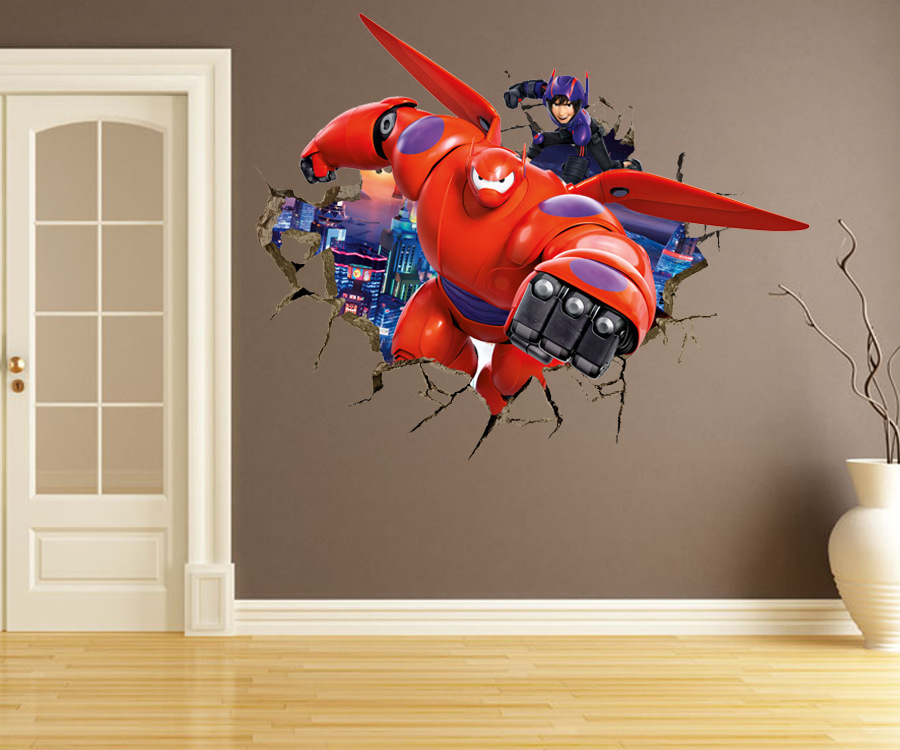 Aliexpress.com : Buy Cartoon Creative 3D Through Walls Armor Baymax Big  Hero 6 DIY Removable Wall Stickers Kids Room Nursery Home Decor Mural Decal  From ...