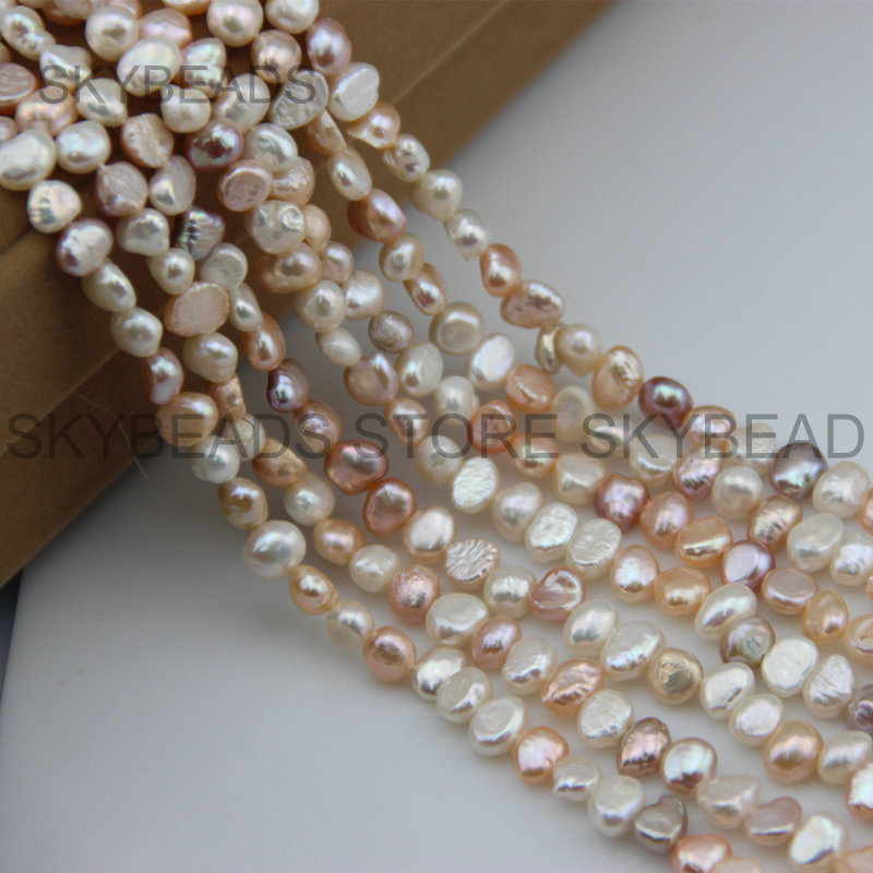Baroque Pearl Beads for Jewelry Making Mixed Color Natural Freshwater Pearls Freedom Irregular Shape 5-6mm Bead Strand Wholesale