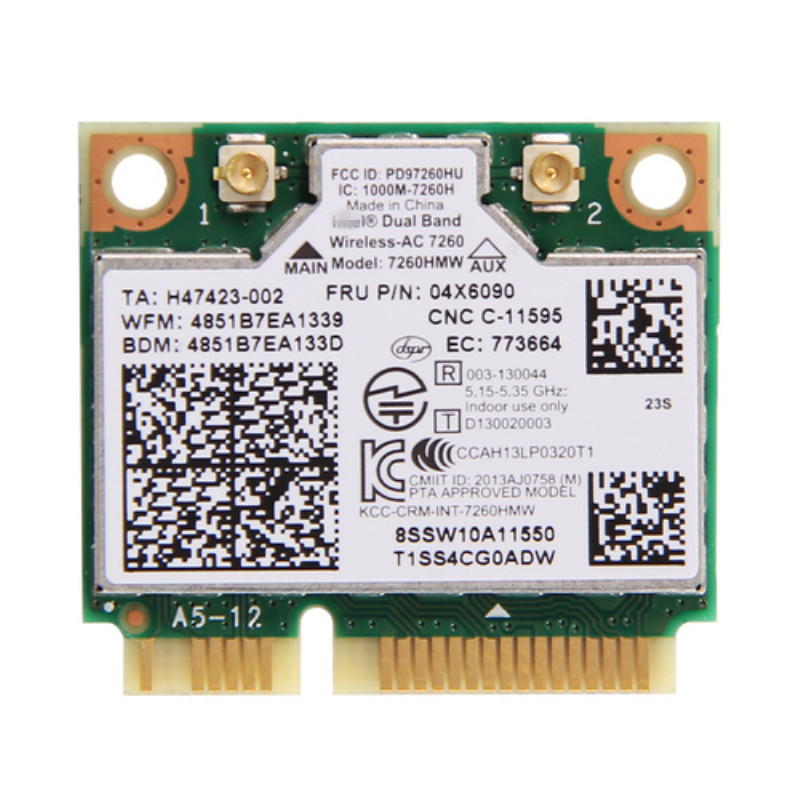Dual Band For IBM Thinkpad Intel Wireless AC 7260 7260HMW 802 11ac Mini PCI E Wifi