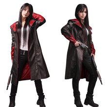 Devil May Cry Dante Jacket Cosplay Costume DMC 5  PU Leather Coat Trench Halloween Uniform For Woman Man цена