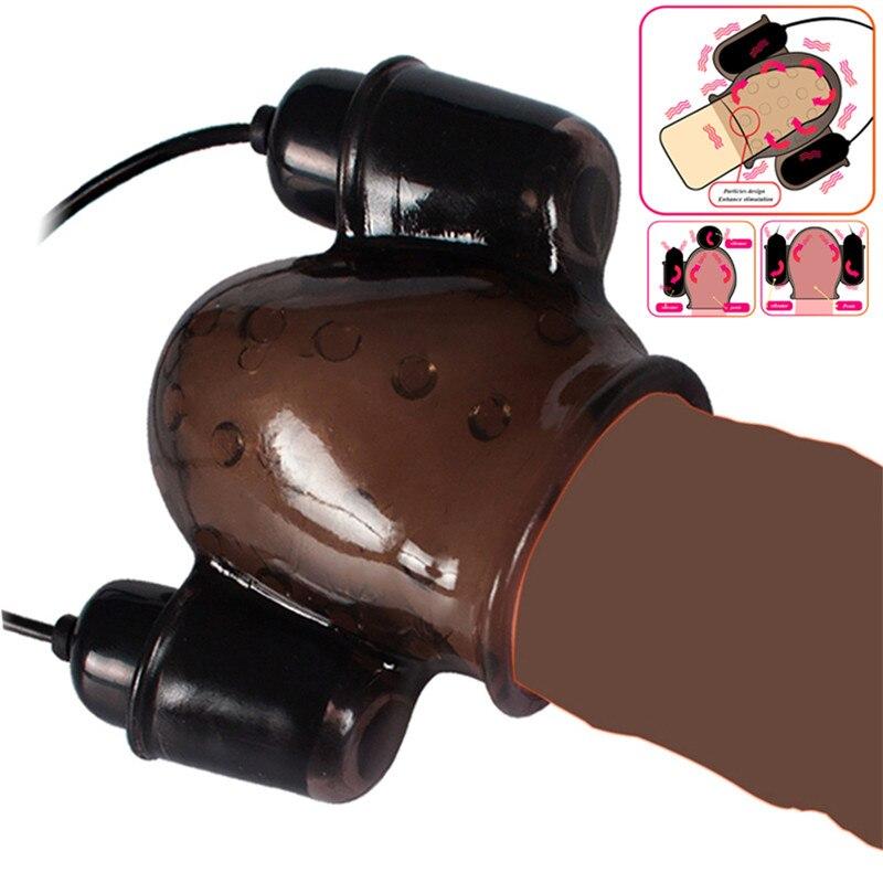 Sex Spielzeug Für Männer Wiederaufladbare Penis Massager Mit 2 Kappen Männlichen Masturbator Verzögerung Anhaltende Trainer Sex Produkte Männer der Eichel vibrator