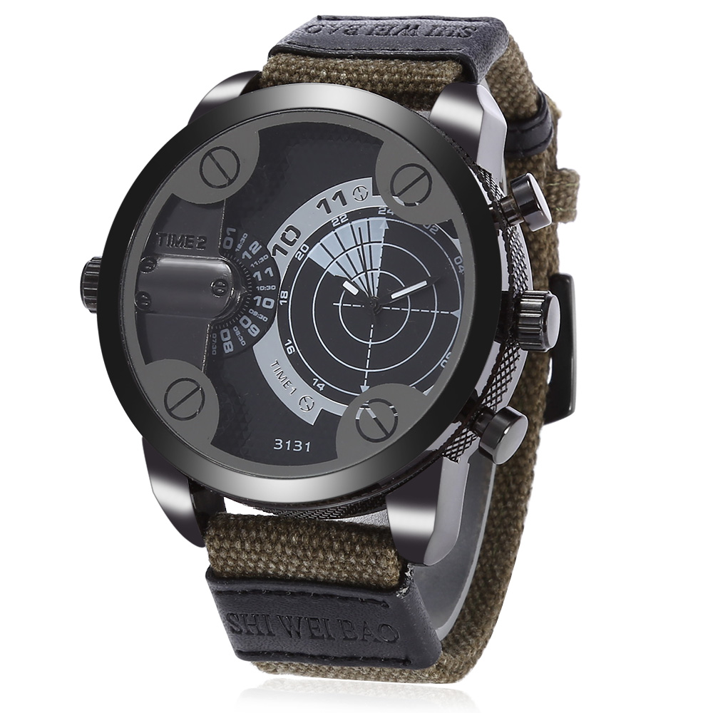Mens Watches Dual Time Zone Quartz-Watch Canvas Strap Big Face Army Military Quartz Clock Male Sports Relogio Masculino D3131 weide new men quartz casual watch army military sports watch waterproof back light men watches alarm clock multiple time zone