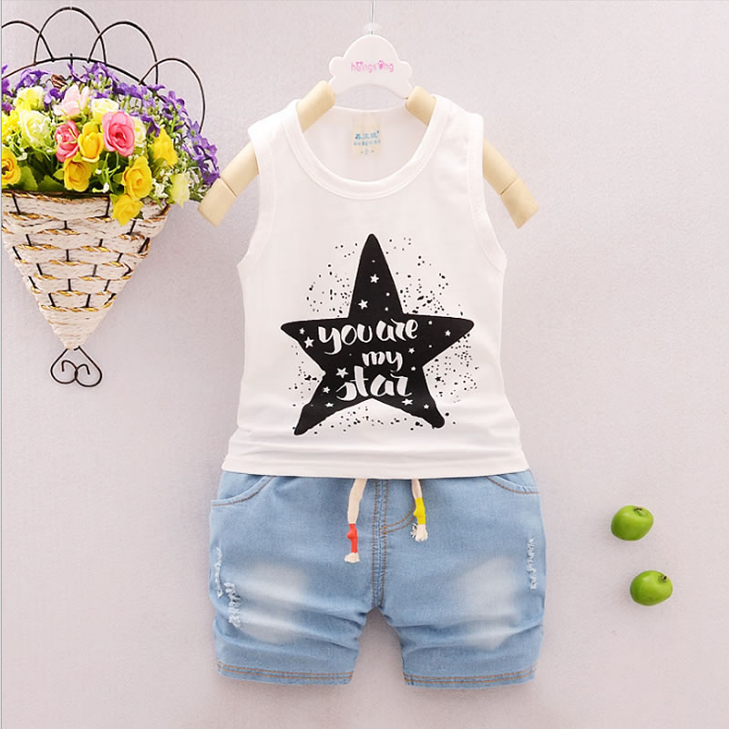 Baby Boy Clothing sets vest and pants per set for 2018 Summer Newborn Baby Boys Clothes Cotton Infant Clothes Set