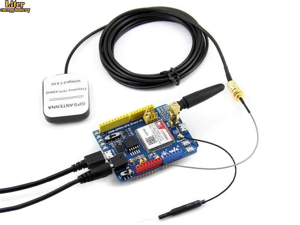 Bouclier GSM/GPRS/GPS (B) bouclier Arduino basé sur SIM808 livré avec adaptateur secteur EU