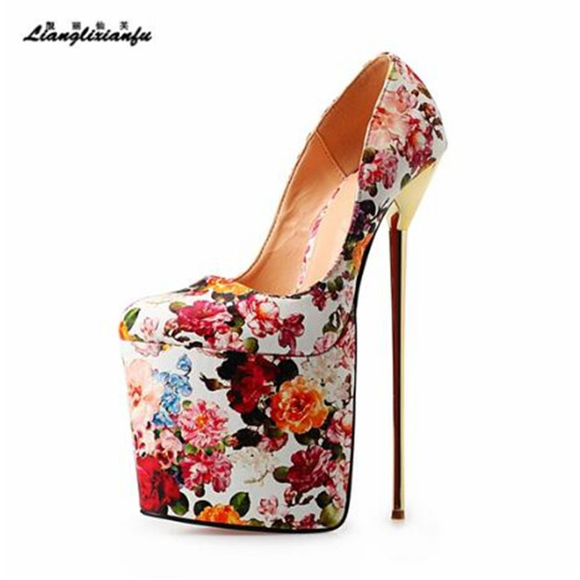 LLXF Plus size:45 46 47 48 49 50 Stiletto Ladies Platforms Shoes Sexy 22cm Metal Thin Heels woman Patent Leather Wedding Pumps