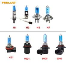 FEELDO 1Pc White H1 H3 H4 H7 H11 9004 9005 9006 9007 Car Fog Lights Halogen Bulb Headlights Lamp