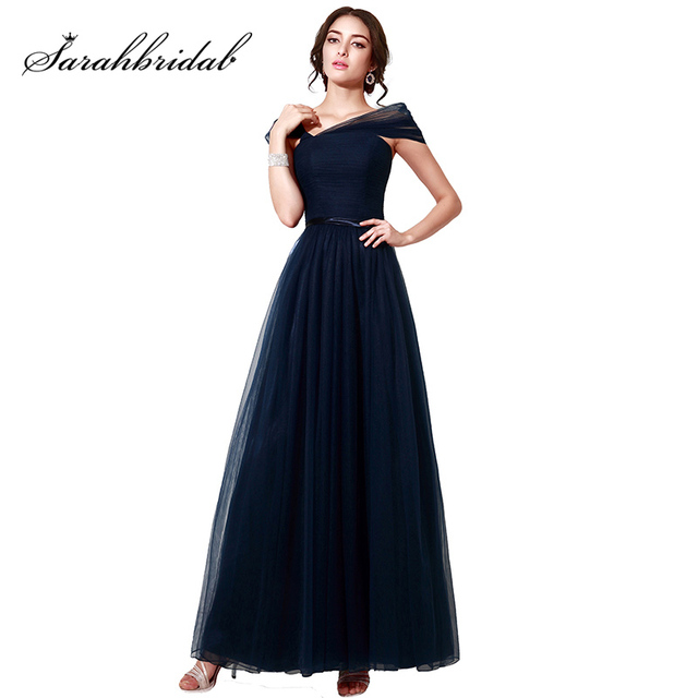 Cheap Navy Blue Tulle A-Line Prom Dresses Long 2017 Fashionable Cap Sleeves  Mother evening Gowns With Ribbons 2f4005d5c