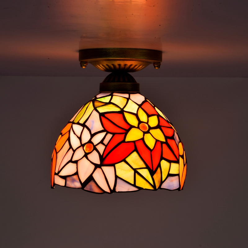 American Pastoral creative stained glass corridor Lobby Aisle Decorative small ceiling lamp bar decoration lamp 110-240V E27 originality stained glass garden flower desk lamp american pastoral countryside hotel barbedside led lamp 110 240v dia 20cm