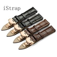 iStrap Black Brown Italian Calf Leather Watch Band Soft Hand Stitched S S Butterfly Clasp Bracelet