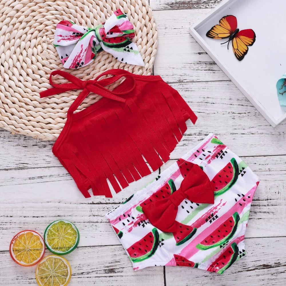 On Sale 2018 Watermelon Headband Baby Outfit Clothes Red Top Summer Shirt Tassel Baby Girl Bows Bathing Suit First Birthday