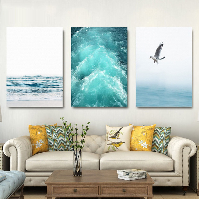HTB12L43XyLrK1Rjy1zdq6ynnpXaW Gohipang Blue Sea And Sky Nordic Landscape Canvas Painting Free Seagull Waves Beach Art Poster Living Room Decor Seabirds Wall