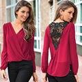 2016 Новая Мода Sexy Моды Женщины V-образным Вырезом Топы Tee Футболка С Длинным Рукавом Случайные Блузка Свободную рубашку