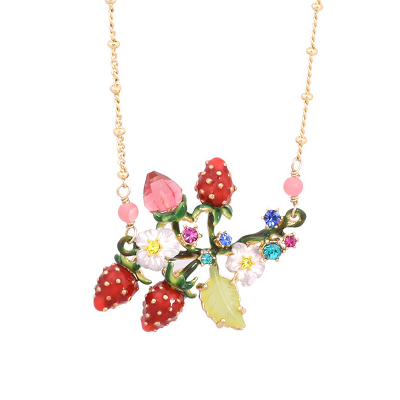 Luxury statement romantic women necklace enamel glaze Strawberry flowers gem choker necklaces lady party jewelry unique mermaid with shell pendant necklace for women enamel glaze fashion choker necklaces lady party jewelry
