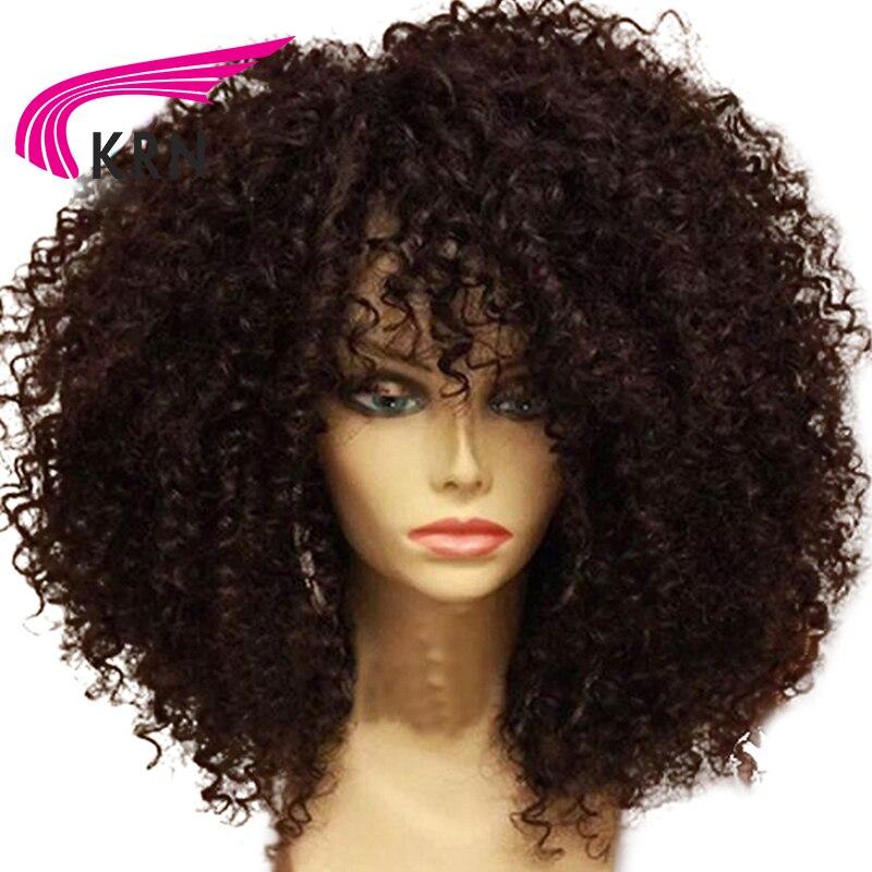 KRN 250 Densité Crépus Bouclés Avant de Lacet de Cheveux Humains Perruques Avec bébé Cheveux Pré Pincées Brésiliens Remy Cheveux Dentelle Perruques Délié normal