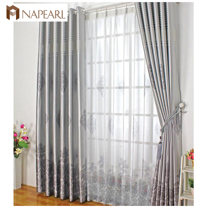 Blackout curtain shade ready made bedroom curtain customize blackout curtains window treatment modern gray curtain with tulle