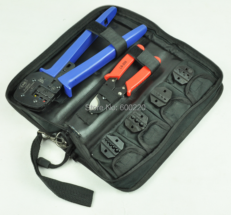 Combination hand crimping tool set with cable cutter and replaceable dies combined tool kits A K03D
