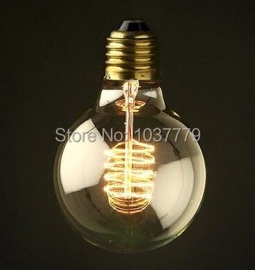 Бесплатная доставка G80S спирали глобус D80 * L118mm воспроизводства ручной работы Эдисон ламп накаливания 110 В E27 40 Вт или 60 Вт