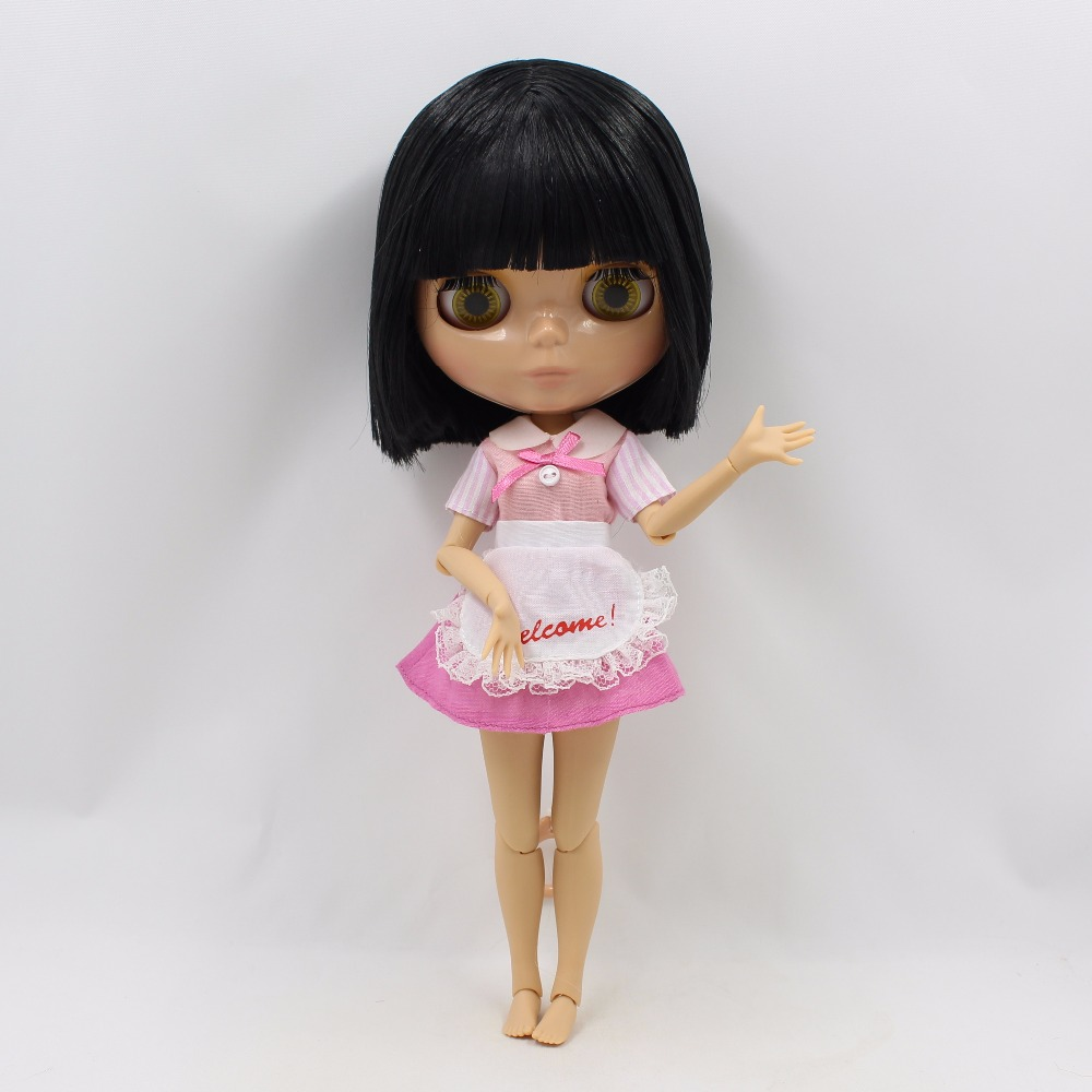 Neo Blythe Doll with Black Hair, Tan Skin, Shiny Face & Jointed Body 2