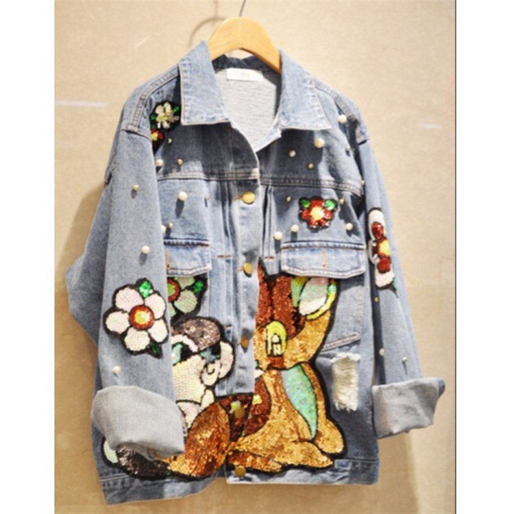 New Korea Autumn Jean Jacket Womens New Cartoon Appliques Bead Cartoon Sequins Denim Fashion Harajuku   Coat   Casual Outwear