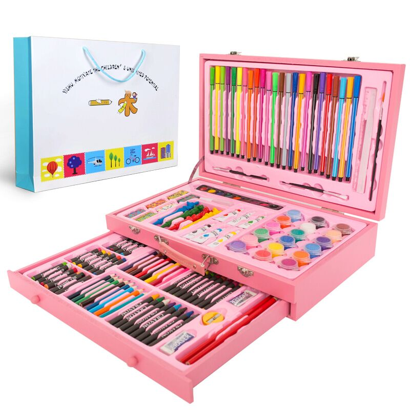 130 Piecs Drawing Pencils Color Pens Crayons Case Art Painting Set for Children Kids with Wooden Case Stationery Set130 Piecs Drawing Pencils Color Pens Crayons Case Art Painting Set for Children Kids with Wooden Case Stationery Set