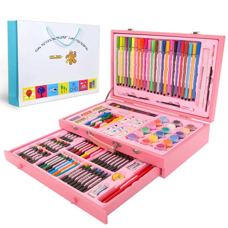130 piècescrayons de dessin stylos de couleur étui à Crayons Art peinture ensemble pour enfants enfants avec étui en bois ensemble de papeterie
