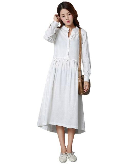 6bf2a45c1a77 US $17.76 34% OFF Frauen Baumwolle Leinen Midi Kleid Vorderen Knopf Langarm  Asymmetrischem Saum Hemd Sress Solide Unregelmäßige Kleid Schwarz/Weiß ...