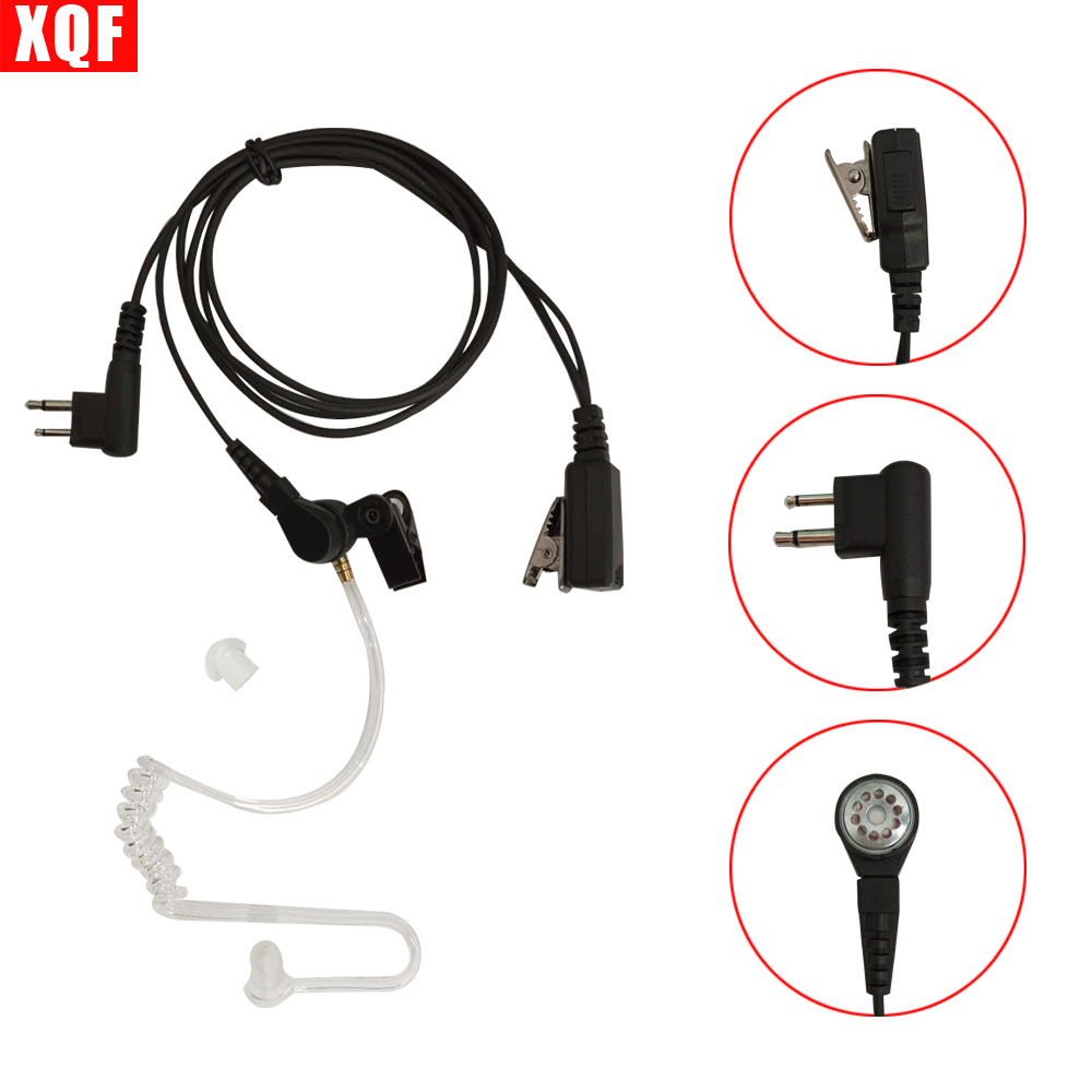 XQF Nipple Covert Acoustic Tube Bodyguard FBI Earpiece Headset Mic PTT for Motorola Two Way Radio Walkie Talkie 2pin