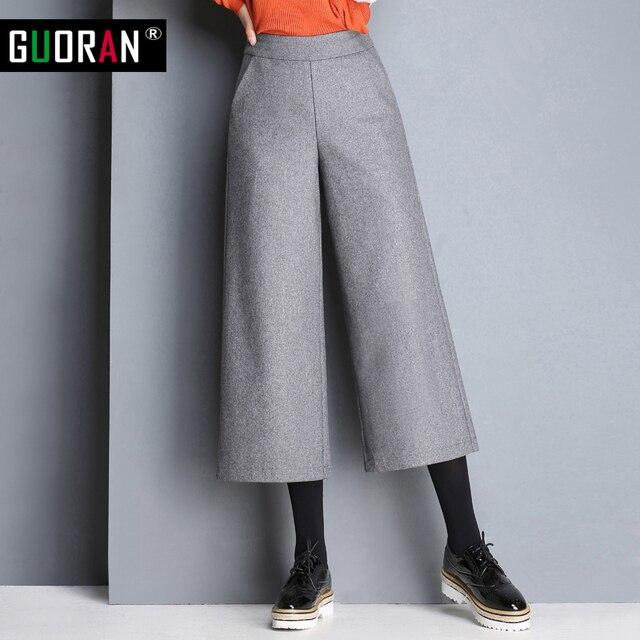 Pantalon Bouton dans Bureau Large Élégantes Taille Long Pantalon Femmes Dames Jambe laine Pantalon Hiver Haute Wear Casual 2016 Work de pantalones wzpZ4cq
