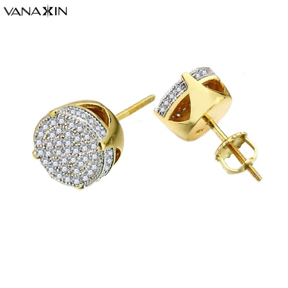 VANAXIN 925 boucles d'oreilles en argent Sterling glacé Micro pavé CZ cristal boucle d'oreille femmes bijoux à la mode Hip Hop hommes de haute qualité