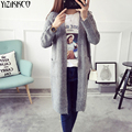 Las mujeres Chaqueta de Punto 2017 Otoño Nueva Moda de Punto Cardigans Largo Abrir Stitch Solid Tire Femme Sweter Mujer SZQ151