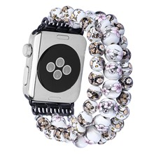 DAHASE 3 Rows Ceramic Beads Strap for Apple Watch 42mm 38mm