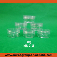 FreeShipping 100 Sets 10ml 10g Mini Sample Cream jar Empty Clear Cosmetic Jar with clear lids