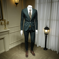 Men Business Suit Jacket European and American Style Man Suits Blazers Slim Fit Mens Suits Male Thick Dark Green Suit 365tz33
